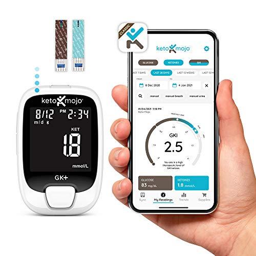 KETO-MOJO GK+ Blood Glucose & Ketone Testing Kit + Free APP for Diabetes Management & Ketosis. Includes: Bluetooth Meter…