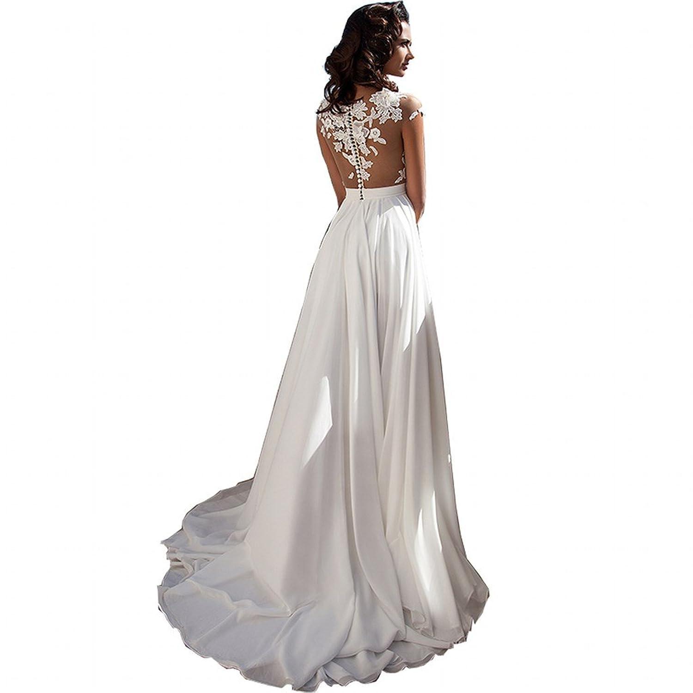 Chady Chiffon Beach Wedding Dress 2016 Lace Back Long Tail Wedding ...