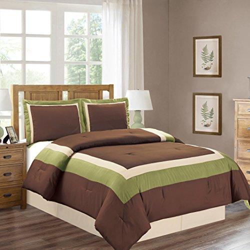 4 Piece QUEEN Size SAGE GREEN / BROWN / BEIGE Color Block MILAN Goose Down Alternative Comforter set 90