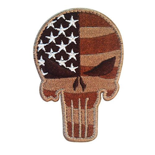 Velcro Attachment (USA Tactical American Flag Patch Punisher Skull with Velcro for molle attachments and military uniforms (Desert Coyote, 3.50