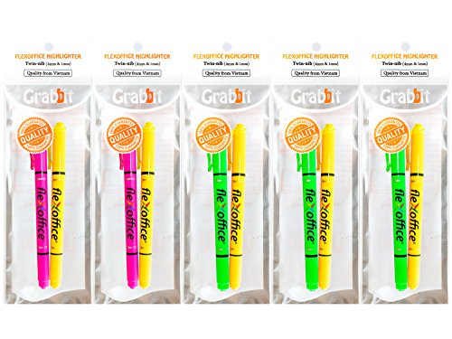 Grabbit FlexOffice Twin Highlighter, 2 Nibs in 1 (4.0mm & 1.0mm), Non-toxic, Assorted Colors, 5 Packs of 2 (Total 10)