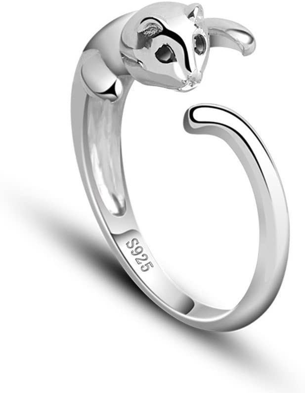 925 Sterling Silver Cute Cat Ring Open Style For Women Fashion Jewellery