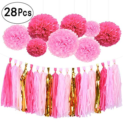 28Ct Hot Pink Gold Tissue Hanging Paper Decorations Kit Flamingo Wedding Favors Fuchsia Tissue Paper Pom-Poms Balls Tassel Hangings Garlands Baby Shower Party Decorations by AWESON PARTY