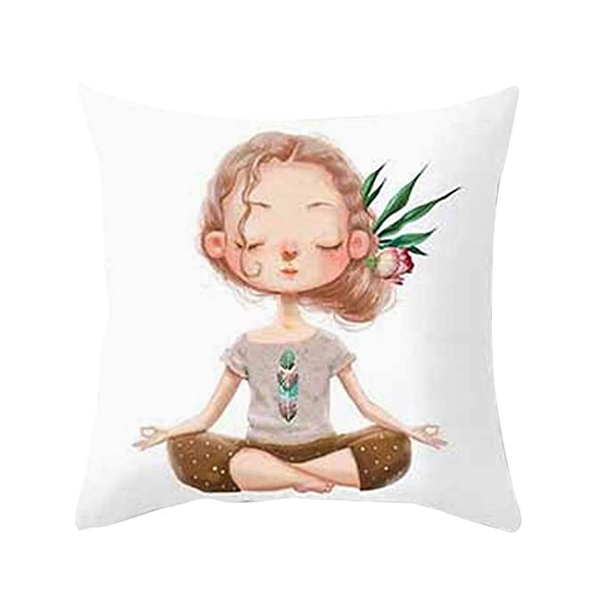 Amazon.com: GREFER Cute Yoga Meditación Funda de Almohada ...