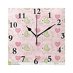 Wall Clock Cute Pink Heart Elephant 8 inch Silent Non-Ticking Square Classic Clock Retro Quartz Decorative Battery Operated Clocks for Living Room Kitchen Home Office Decor