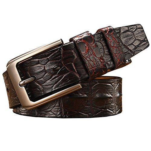 Mens Crocodile-Simulated Black/Brown/Coffee Leather Belt for Pin Buckle,41-49inch (41-49inch, Dark Coffee) (Brown Crocodile Belt)