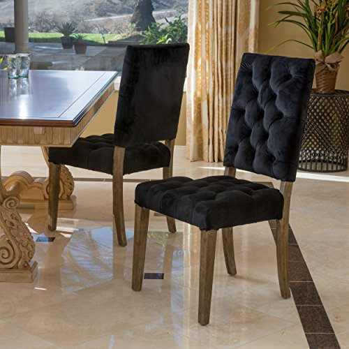 - Christopher Knight Home 296549 Carolina New Velvet Dining Chairs (Set of 2), Black