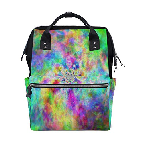Fashion Diaper Bags Mummy Backpack Hippie Colorful Multi Functions Large Capacity Nappy Bag Nursing Bag for Baby Care for Traveling ()