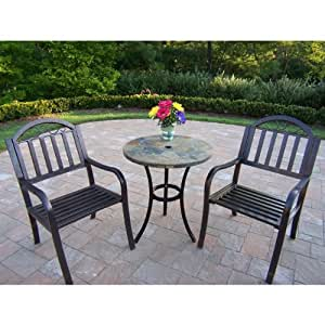 Oakland Living Stone Art Rochester 3-Piece Bistro Set with 26-Inch Table