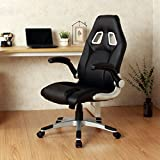 Ergonomic Swivel Video Game Chair W/Rolling Wheels Flipup Armrest Lumbar Support Black + FREE E-Book