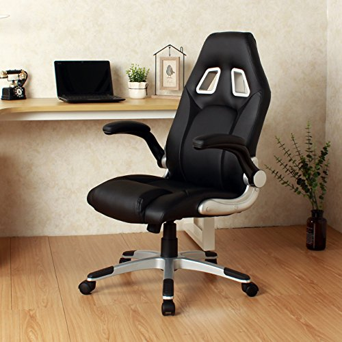 Ergonomic Swivel Video Game Chair W/Rolling Wheels Flipup Armrest Lumbar Support Black + FREE E-Book by Eight24hours