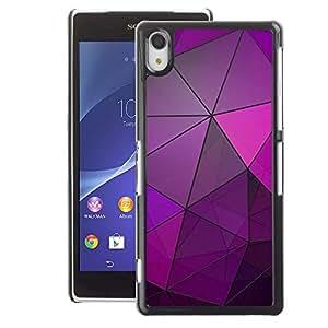 A-type Arte & diseño plástico duro Fundas Cover Cubre Hard Case Cover para Sony Xperia Z2 (Glass Reflective Purple Polygon Lines)