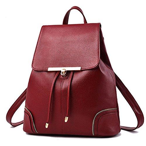 (JVP1029-B) Señoras bolso de estilo japonés señoras mochila cuero de LA PU negro de gran capacidad bolsa de viaje de regreso señoras mochila espalda hombro bolsa popular bolso Vino Tinto