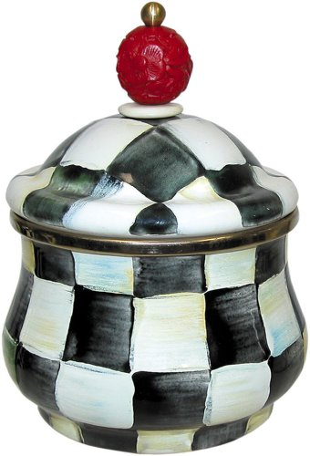 MacKenzie-Childs Enamel Lidded Sugar Bowl-Courtly Check 89211