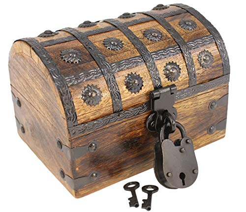 Midnight Accent Chest - Well Pack Box Pirate Treasure Chest Wooden W/Iron Lock Skeleton Key 8x6x6 Wood Storage Decorative Keepsake Box