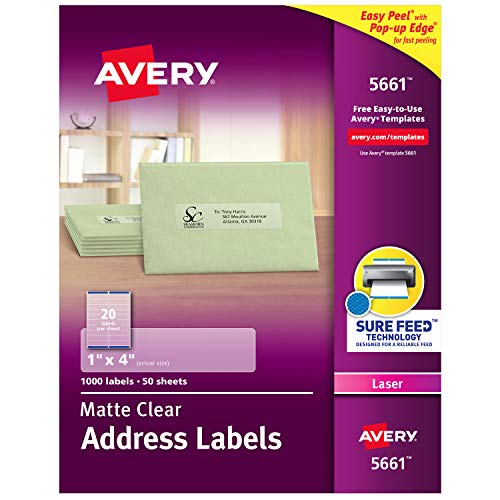 Avery Clear Easy Peel Address Labels for Laser Printers 1