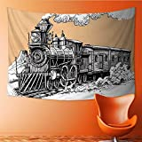 Printsonne Horizontal Version Tapestry Steam Locomotive Throw, Bed, Tapestry, or Yoga Blanket 72W x 54L Inch