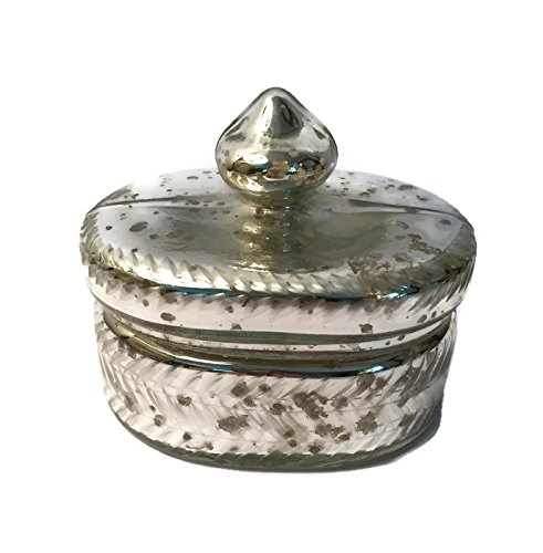 Mercury Glass Box, Oval | Small Storage Box For Trinkets, Jewelry in Antique Silver - Finish Glass Mercury