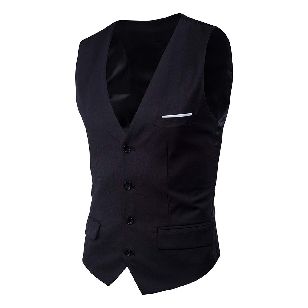 cd5f482408 MyMei Men's Cotton Waistcoat Slim Fit V Neck Suit Vest Single-Breasted Plus  Size Casual Business Wedding Party Wear: Amazon.in: Clothing & Accessories