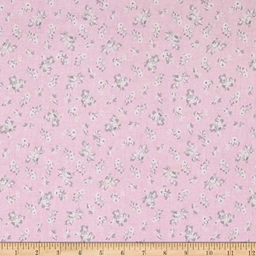Penny Rose Rose Garden Toss Pink Fabric by The - Garden Rose Fabric