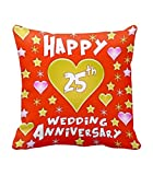 TiedRibbons® 25th Wedding Anniversary Gift Printed Cushion(12 Inch X 12 Inch) with Filler