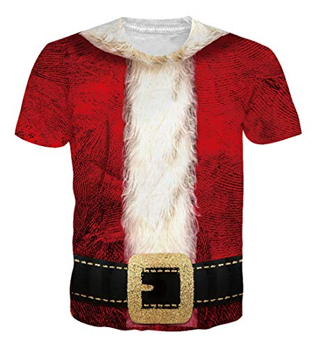 NEWISTAR Unisex Santa Claus Christmas Costume Print Novelty Christmas Holiday Humor T-Shirt XL ()