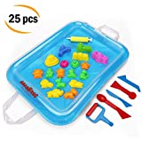 Sand Molds and Tools Kit + Sand Tray, Magic Molding Play Sand Toys for Kids - For Play Sand, CoolSand, and other Molding Sand