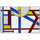 7a8ebd6ee46 Silver Creek Primary Colored Art Deco Inspired Vertical Design Art Glass  V-435