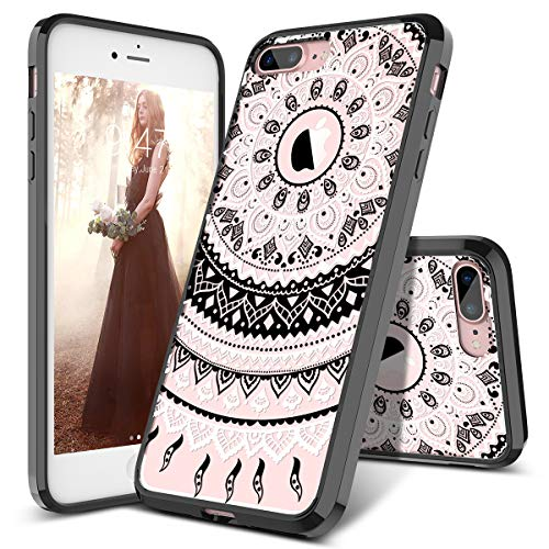 - SmartLegend Case for iPhone 8 Plus & iPhone 7 Plus, Girls Women Slim Anti-Slip Clear Soft TPU Bumper + Hard PC Back Shockproof Full-Body Protective Phone Cover for iPhone 7 Plus/8 Plus- Black Mandala
