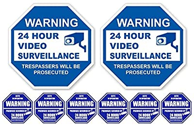 "2 ""24 Hour Video Surveillance"" PVC Signs (9"" x 9"") with 6 Security Alarm System Stickers (3"" x 3""); White & Blue from SecurePro Signs"