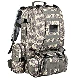 CVLIFE Tactical Military Backpack 60L Built-up Army Rucksacks Outdoor 3 Day Assault Pack Combat Molle Backpack for Hunting Hiking Fishing with Flag Patch Camouflage ACU