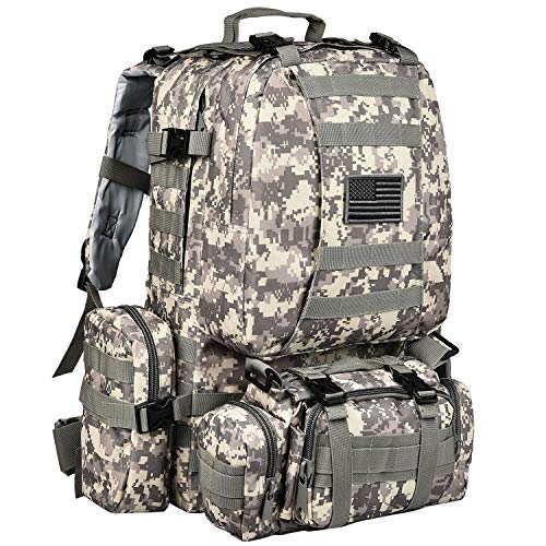 - CVLIFE Tactical Military Backpack 60L Built-up Army Rucksacks Outdoor 3 Day Assault Pack Combat Molle Backpack for Hunting Hiking Fishing with Flag Patch Camouflage ACU