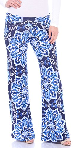 Popana Women's Casual Wide Leg Boho Flare Floral Print Palazzo Pants Made In USA