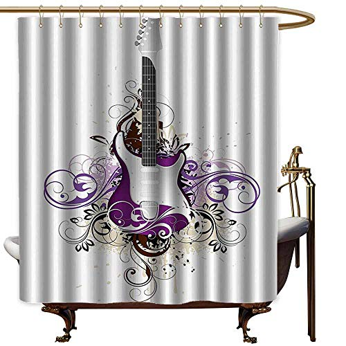 StarsART Shower Curtains for Bathroom White Music Decor,Bass Guitar Surrounded by Swirled Floral Lines Rock Electronic Design,Purple Light Grey,W48 x L72,Shower Curtain for Kids