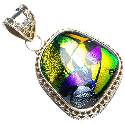 (Natural Rainbow Dichroic Glass Handmade Unique 925 Sterling Silver Pendant 1.5