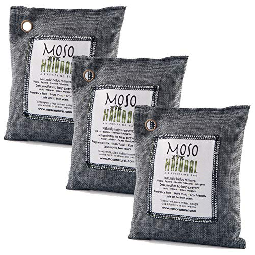Moso Natural 3 Pack 200 gm Air Purifying Bag Deodorizer. Odor Eliminator for Cars, Closets, Bathrooms and Pet Areas. Absorbs and Eliminates Odors. Charcoal Color