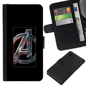 NEECELL GIFT forCITY // Billetera de cuero Caso Cubierta de protección Carcasa / Leather Wallet Case for Sony Xperia Z1 L39 // Futurista Un Inicial