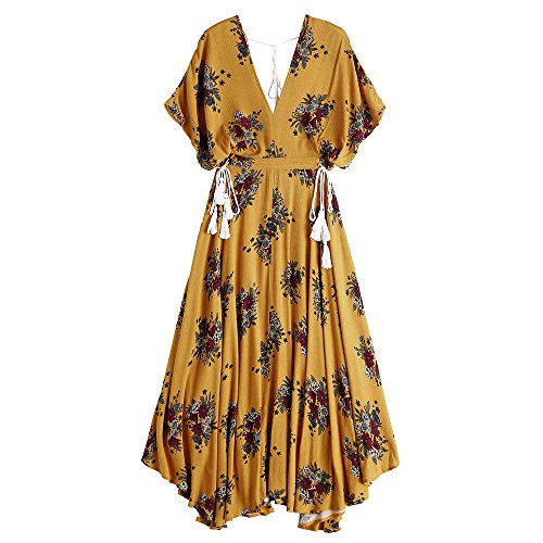 Dezzal Women's Bohemian V-Neck Batwing Floral Print Tassels Cut Out Maxi Dress (M)
