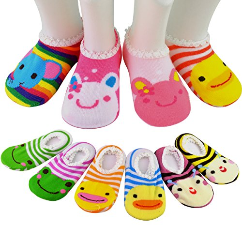 6 Pairs Anti slip Baby Socks SUMERSHA Girls 6 24 Month Cartoon Baby Toddler Anti Slip Skid Low Cut Boat Socks Gift Bangle With bags No Show Newborn Socks