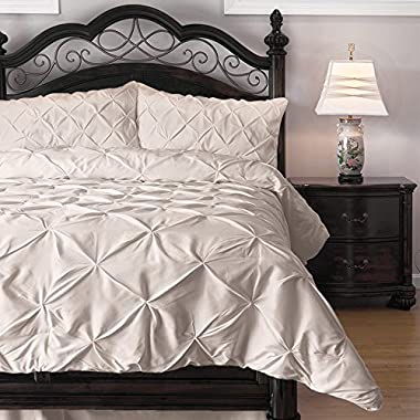 Pinch Pleat Comforter Set - 3-Piece - by ExceptionalSheets, Queen, Ivory (PinchComf_QN_IV)