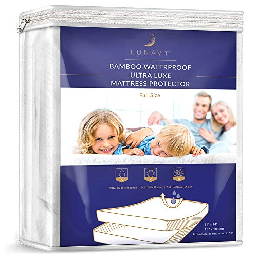 (LUNAVY Premium Bamboo Waterproof Mattress Protector - Machine Washable Pad (Full Size) )