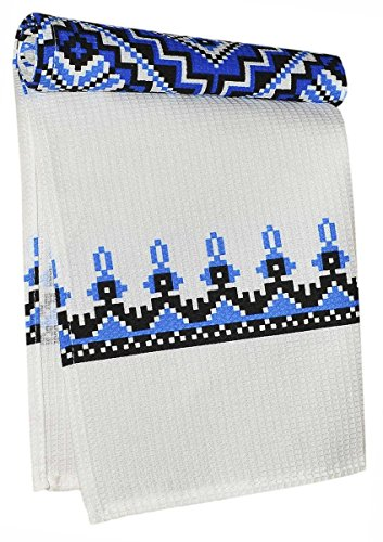 Pack of 2 Blue Ukrainian style Easter Gift Embroidery design Vintage Kitchen Waffle Wave Dish Towel Runner Rushnyk Set with Decorative Ornament 100% Cotton Kitchen Towel (Size: 29 x 14 inches) - Easter Embroidery Design