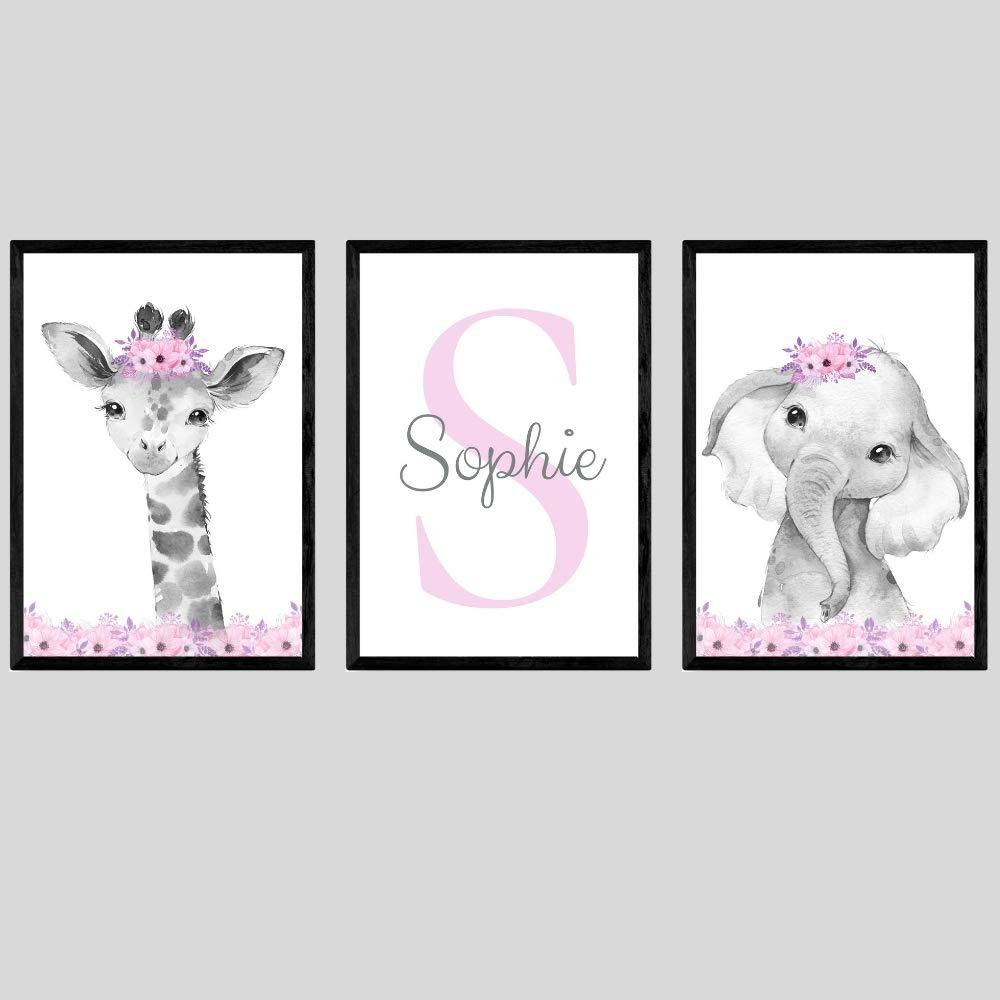 Safari Animals Girls Nursery Bedroom Unframed Set of 3 Poster Prints, Personalized Name Pink or Purple Flowers Wall Art Decor New Baby Gift Present, Elephant Giraffe Panda Zebra Lion (8x10)