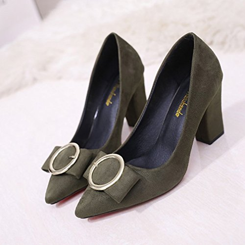 Giy Kvinna Klänning Pumps Loafers Mocka Spetsig Tå Slip-on Spänne Blocket Häl Klassiskt Mode Dagdrivare Pump Mörkgrön