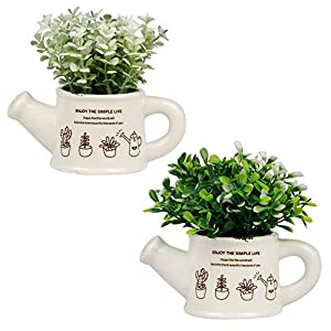 Artificial Plants Mini Fake Potted Art Plants Indoor Outdoor Home Garden Office Decor, Green - Set of 2 1