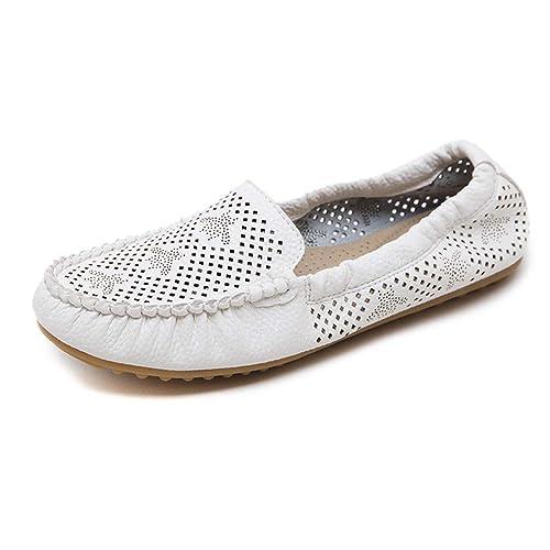 Mocasines de Cuero PU Mujer Loafers Casual Zapatos Zapatillas: Amazon.es: Zapatos y complementos