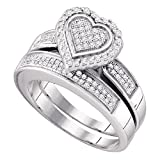 Sterling Silver Womens Round Diamond Bridal Wedding Engagement Ring Band Set 3/8 Cttw