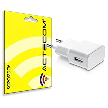 ACTECOM® Cargador Carga Pared Blanco USB 2A Compatible para Samsung Note 8