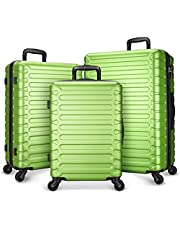 SHOWKOO Juego de 3 piezas de equipaje expandible ABS Hardshell Hardside ligero durable Spinner ruedas maleta con bloqueo TSA