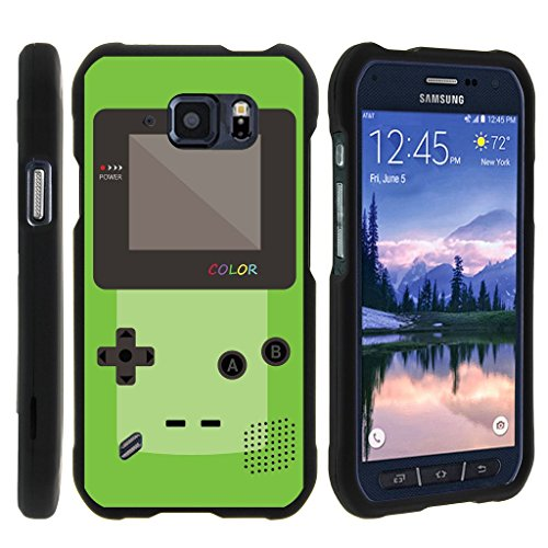 MINITURTLE Case Compatible w/ [Samsung Galaxy S6 Active Slim case, S6 Active case ][Snap Shell] Hard Plastic Slim Fitted Snap on case w/ Unique Designs - Green Gameboy Color
